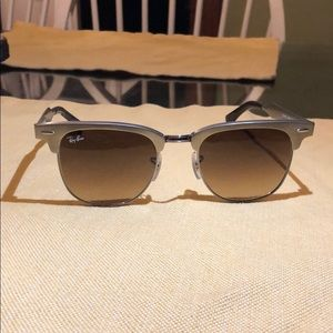 Gold framed ray ban sunglasses with brown lenses